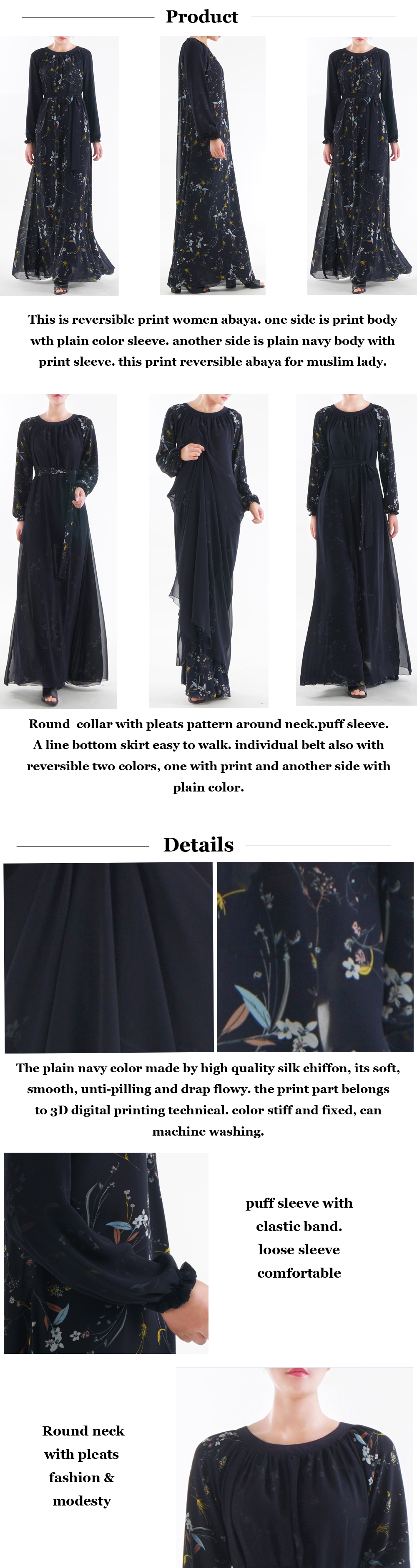 2020 high quality Print chiffon Muslim dress reversible abaya for women latest abaya burqa designs