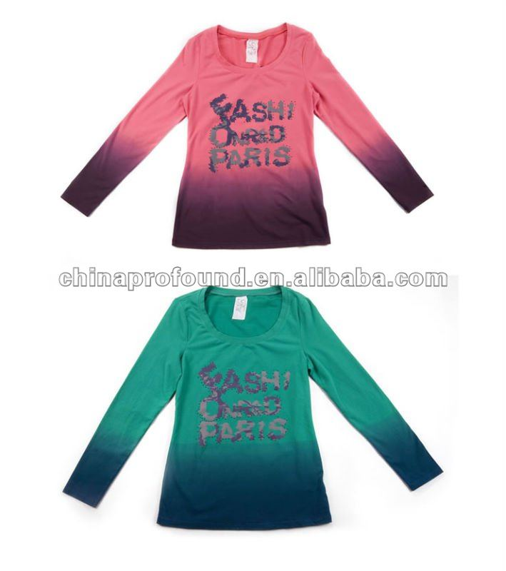 2012 hotest style long sleeve hang dye womens clothing