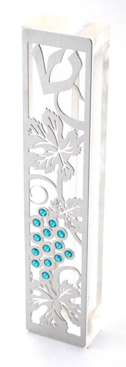Dorit Judaica Mezuzah Case MZN-2T for 12cm scroll Perspex base cut out Stainless Steel with Swarovski Stones