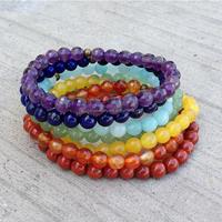 7 Chakras Natural Stone Bracelet/ Real Chakra Semi-precious Stone Bracelet Stack Jewelry