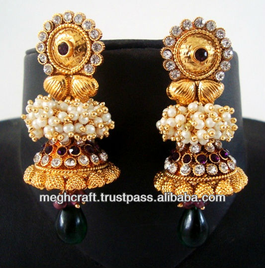 One gram gold jewellery - antique jumka earrings - Bollywood style earrings - heavy designer copper earrings