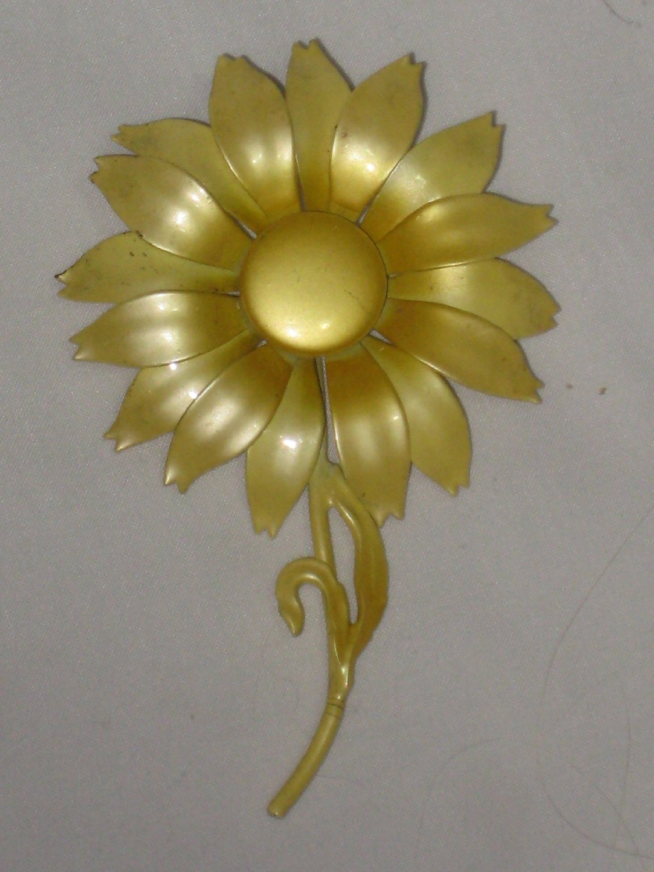 Buy Vintage Flower Power Yellow Enamel 4 X 2 12 Inch Flower Brooch