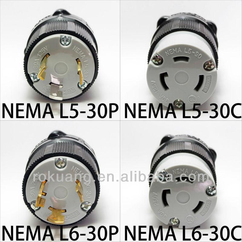 30a Nema Cerradura De La Torcedura Plug Conector L5 30 L6