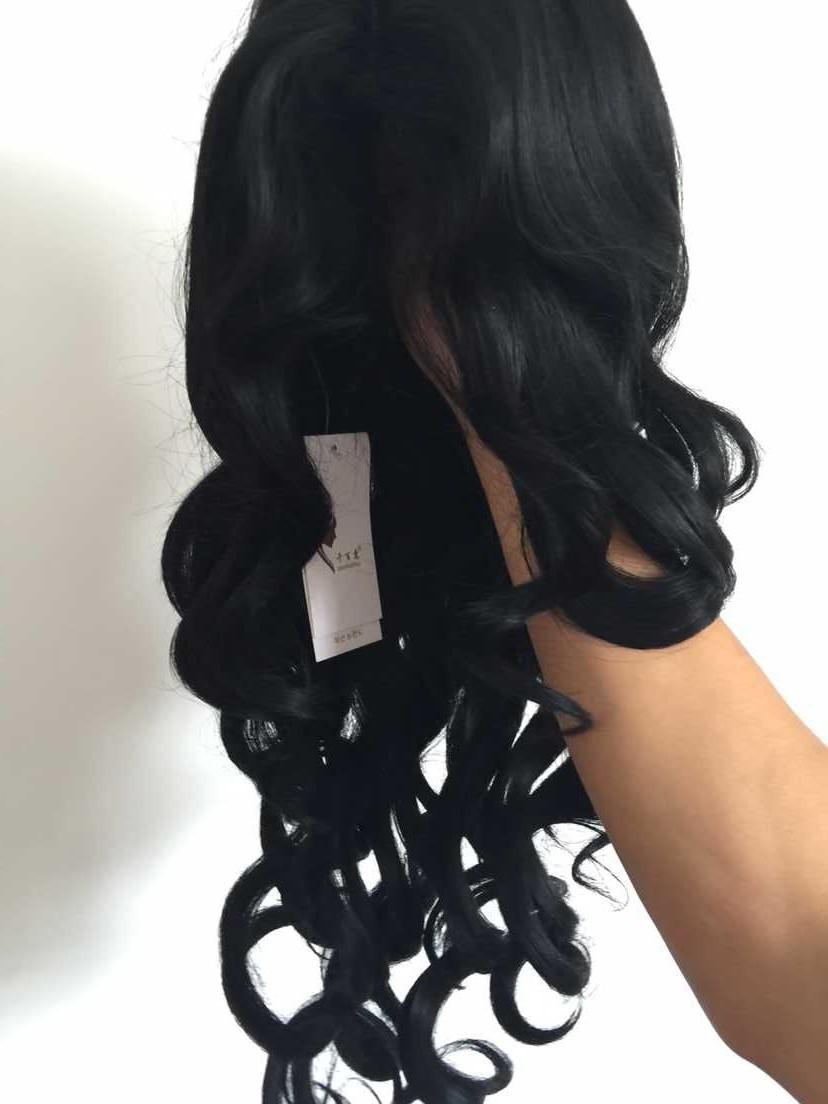 Бразильский полный кружево человеческих волос парики парики на сетке спереди тело натуральная волна длинная вьющийся парик волос для черный женщины