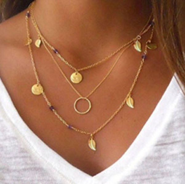 YongZe statement jewelry 3 layered simple gold chain necklace circle & leaf design thin gold chain necklace фото