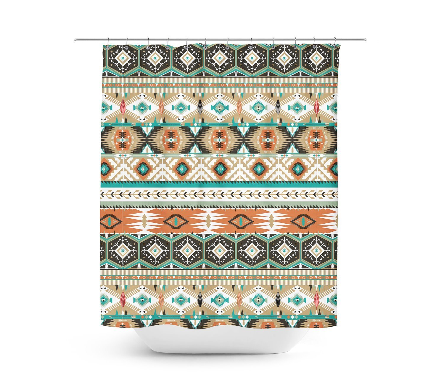 Earthy Aztec Tribal Geometric Shower Curtain   36x72 Stall   Unique In 4  Sizes For Any