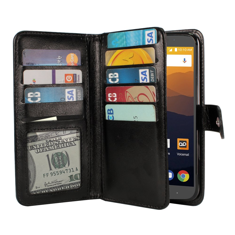 ZTE Max XL N9560 Case, NEXTKIN Premium PU Leather Dual Wallet Folio TPU Cover, 2 Large inner Pockets Double flap Privacy, 9 Card Slots Holder Snap Button & Wrist Strap - Black