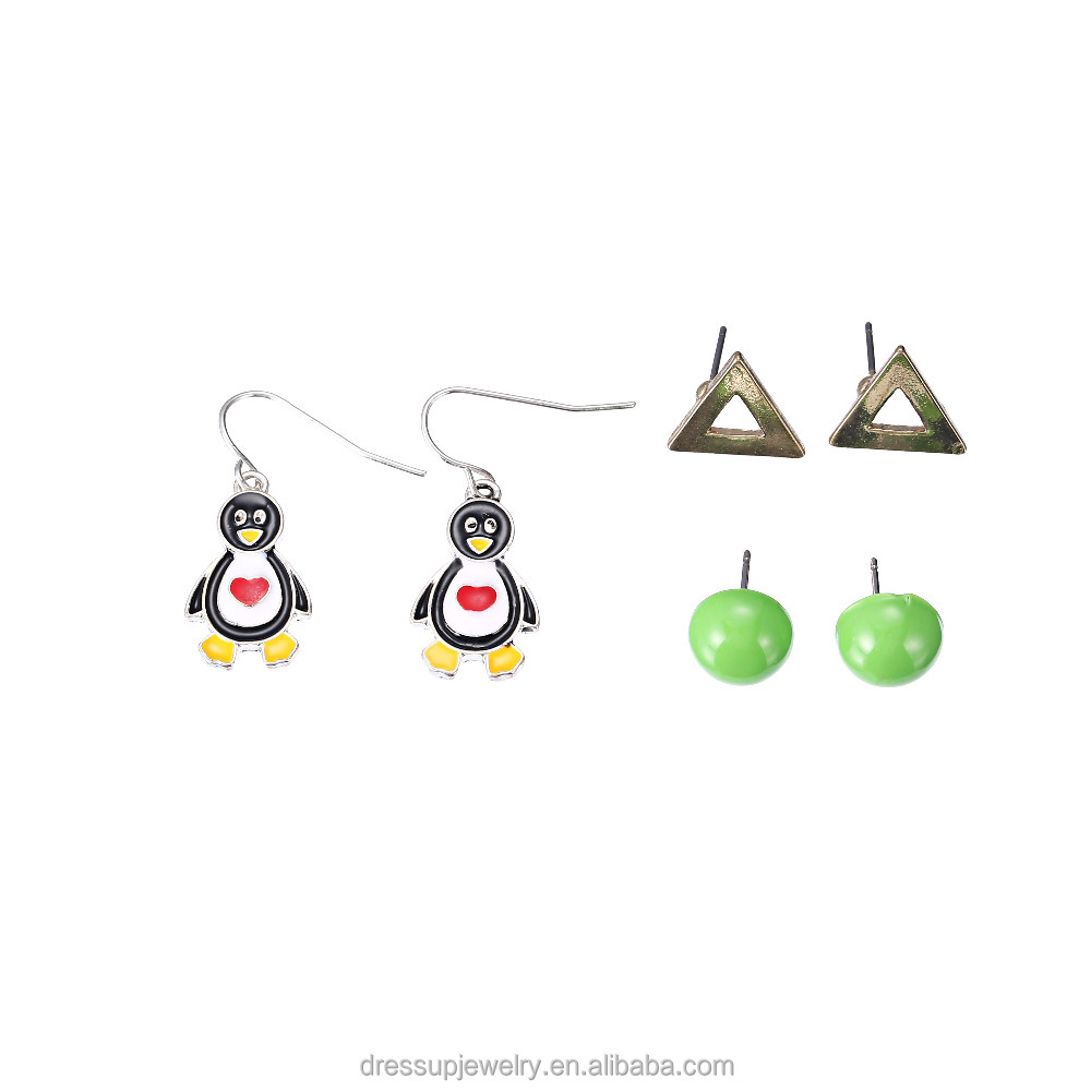 colorful jewelry cut out triangle green apple and cute penguin stud earrings set