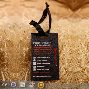 custom printed brand name logo paper washing instructions labels hangtag