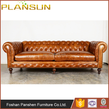 Antique classic living room sofas Vintage oil wax leather chesterfield sofa