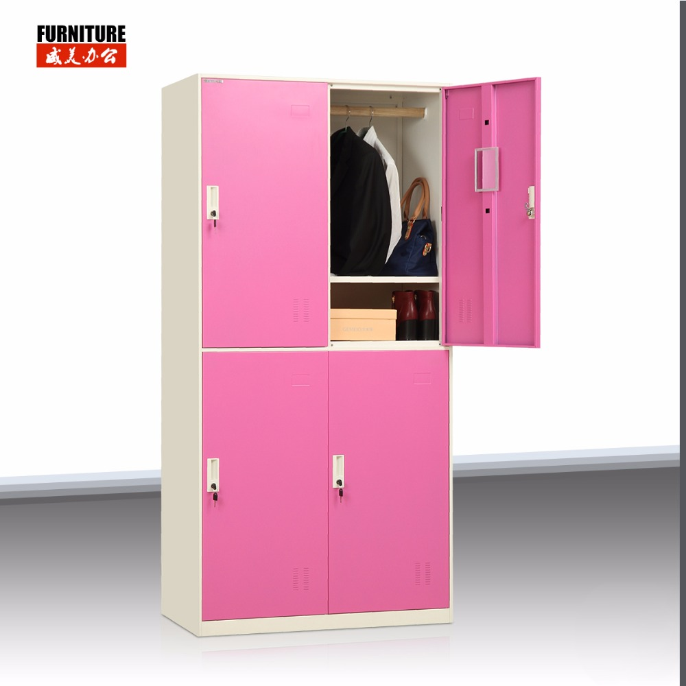 Space Save Metal Storage Locker 4 Compartment steel Clothes Cabinet