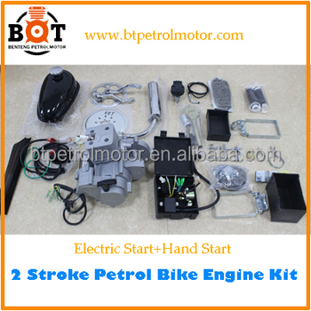 2 stroke petrol bike engine kit electric start and hand for How to make an electric bike with a starter motor