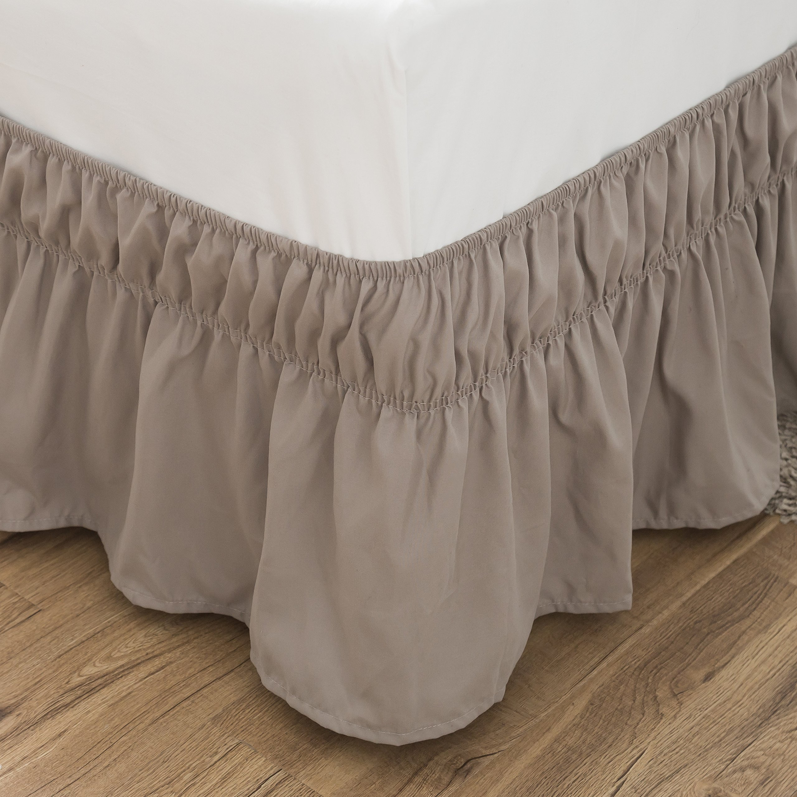 fdacf00179 Get Quotations · Bed Skirt-14 Inch Drop Dust Ruffle Three Fabric Sides Wrap  Around Ruffled (Queen