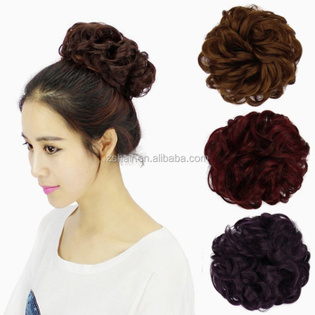 New Fashion 1PC Synthetic Drawstring Messy Updo Curly Clip In Buns Extensions for Women Party