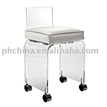 Delicieux FW623 Clear Acrylic Swivel Vanity Chair With Cushion;Acrylic Vanity Chair  With Wheels,Acylic