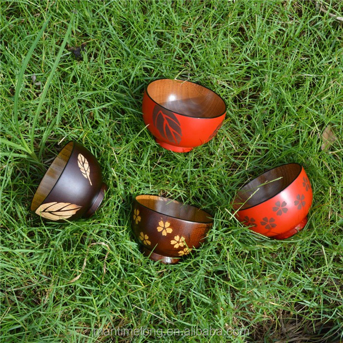 Exquisite hand-made tableware jujube wood cherry leaves bowl couple bowls Wood Bowl Soup Bowl