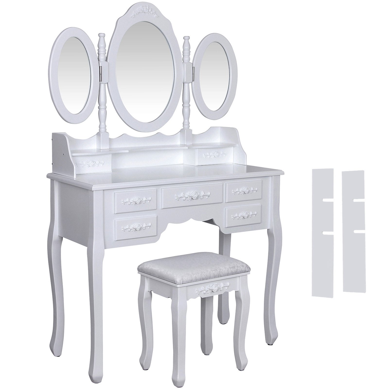 Get Quotations · SONGMICS Vanity Set W/ Stool Make Up Dressing Table, 3  Mirrors 7 Drawers