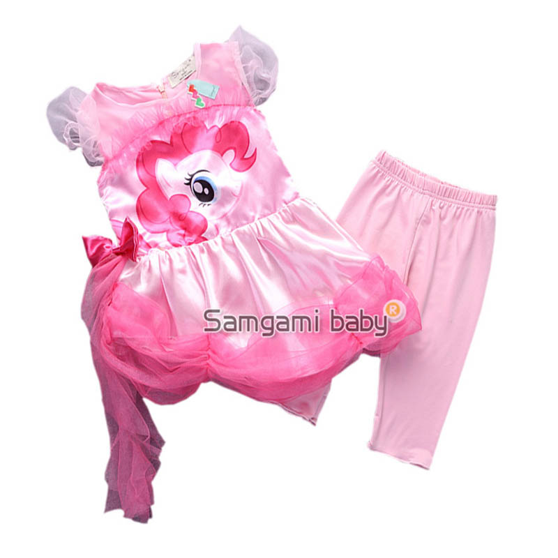 girls fashion dress girls tutu My dress little pony kids suit cartoon princess baby lace sequin