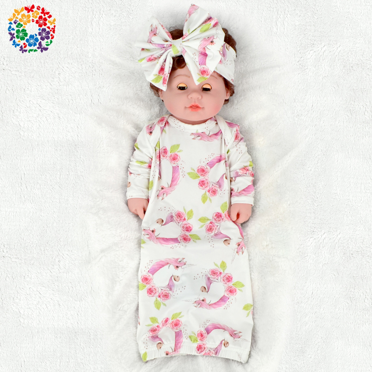Pink Unicorn Prints Baby Christening Gowns Toddlers Sleep Gowns Baby ...