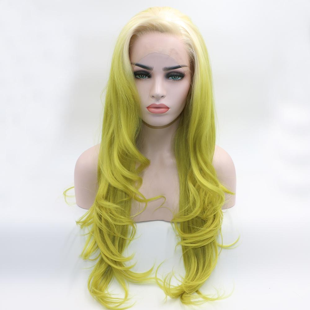 Fantasy Beauty Long Wavy Ombre <strong>Lace</strong> Front <strong>Wig</strong> White Roots Ombre Yellow Green <strong>Synthetic</strong> Heat Resistant <strong>Full</strong> <strong>Wigs</strong>