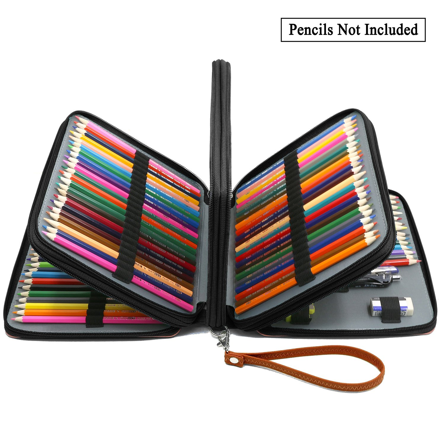 ADVcer 160 Slots Pencil Case - PU Leather Large Capacity Zipper Pen Bag with Hand Strap for Prismacolor Crayola Colored Pencil, Watercolor Pencils, Marco Pens, Gel Pen, Makeup Brush, Sharpener (Brown)