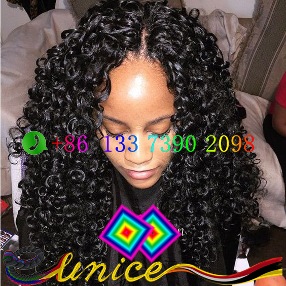 Synthetic Wave Hair Extension Crochet Bulk Hairstyle 22 Inches Long Hairpiece Black Curl Fashion Women Hair