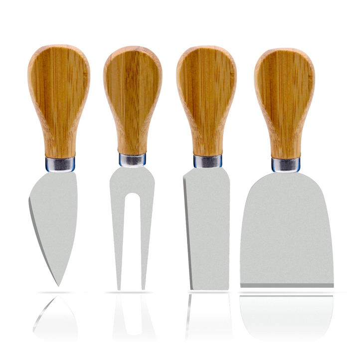 4 Pieces Set Cheese Knives with Bamboo Wood Handle Steel Stainless Cheese Slicer Cheese Cutter pizza knife set фото