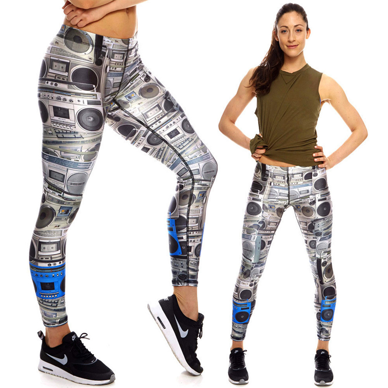 Womens high quality boombox workout performance leggings high quality 4-way stretch yoga gym leggings