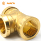 Factory Directed HC-1004 Thicken Round Body NPT Thread Brass Female Tee for PVC Pipe