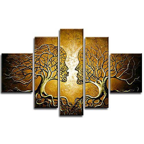 Wieco Art Wind Floating Tree 5 Piece Extra Large Modern 100/% Handmade Impressionist Dancing People Oil Paintings on Canvas Wall Art for Living room Bedroom Home Decor Modern Gallery Wrapped Artwork XL