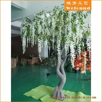 wefound indoor decoration white artificial custom canopy silk wisteria trees for sales