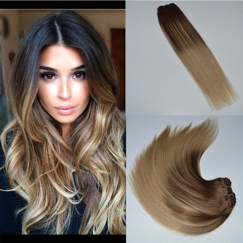 Dark Brown Mix Blonde Ombre Color Double Drawn Balayage Hair Triple