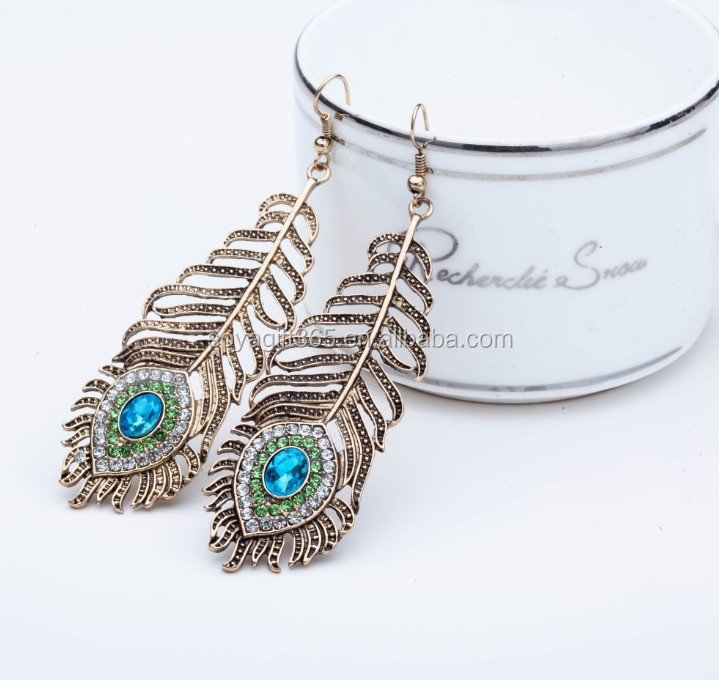Natural Feather Earrings Vintage Style Fashion Ladies Jewelry Dangle Earrings