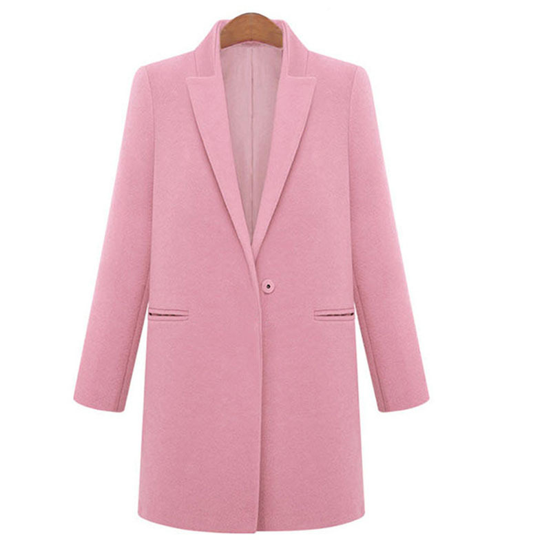 Get Quotations · Fashion Trend Woman Long Coat Single Button Solid Wool Coat  Women Turn-Down Collar Overcoats c19903d74
