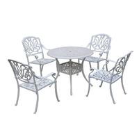 Cross Weave Patio Cast Iron 5 Piece Bistro Set Traditional Outdoor Furniture