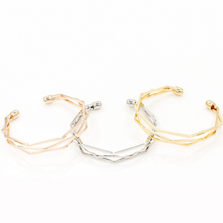 QW001 Stylish And Popular Bracelet With Five Layers of Corner Angle Polished Open Lovers Bracelet