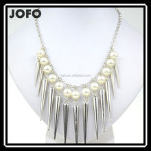 New Design Women Gorgeous Multi Silver Rivet Pearl Bib Statement Necklace Collar HHJ0211