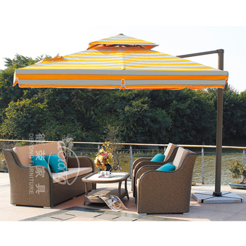 Beau Double Top Striped Patio Umbrella For Garden Rome Strong Umbrella Aluminum  Alloy Umbrella