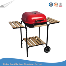 Square Wooden Side Table Barbecue Charcoal BBQ Vertical Grill