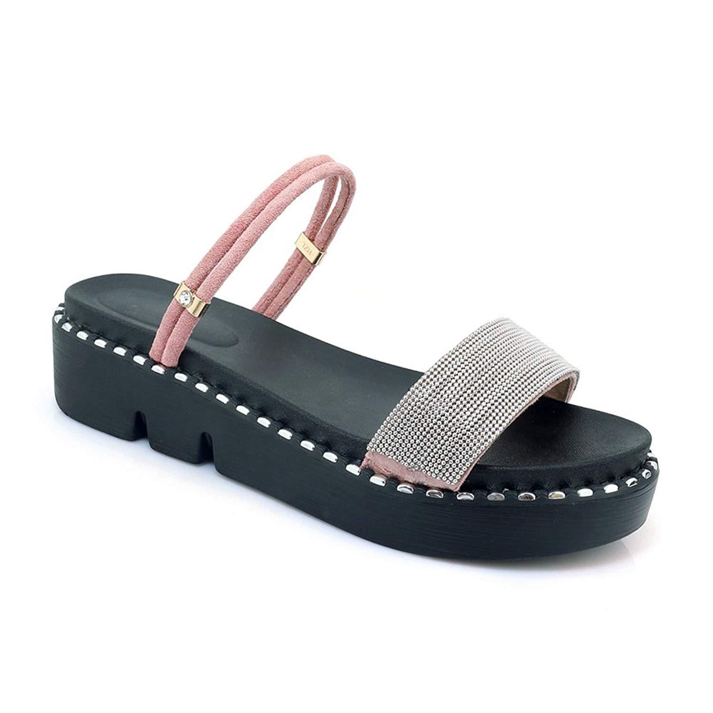 7fe8b05eadd30d Get Quotations · Btrada Women s Fashion Slide Sandals 2 Wear Summer Wedges  Non-Slip Platform Open Toe Slip