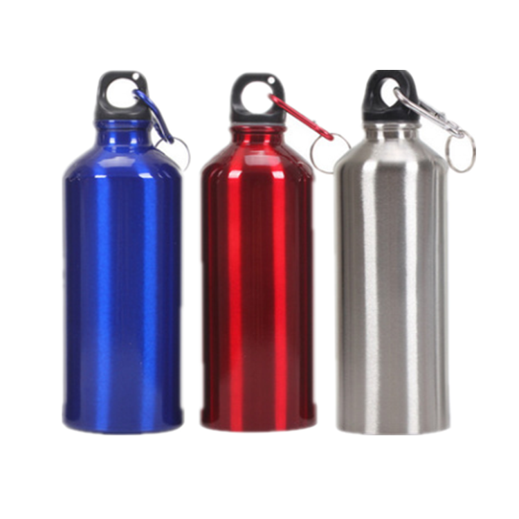 Hot selling cheap logo printed 500ML sport aluminium bottle with carabiner