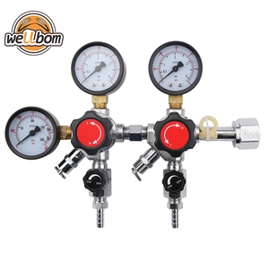 CO2 Dual Gauge Regulator with 2 Check Valves Brewing Pressure Regulator CGA320 Inlet 0~3000psi, 0~60psi