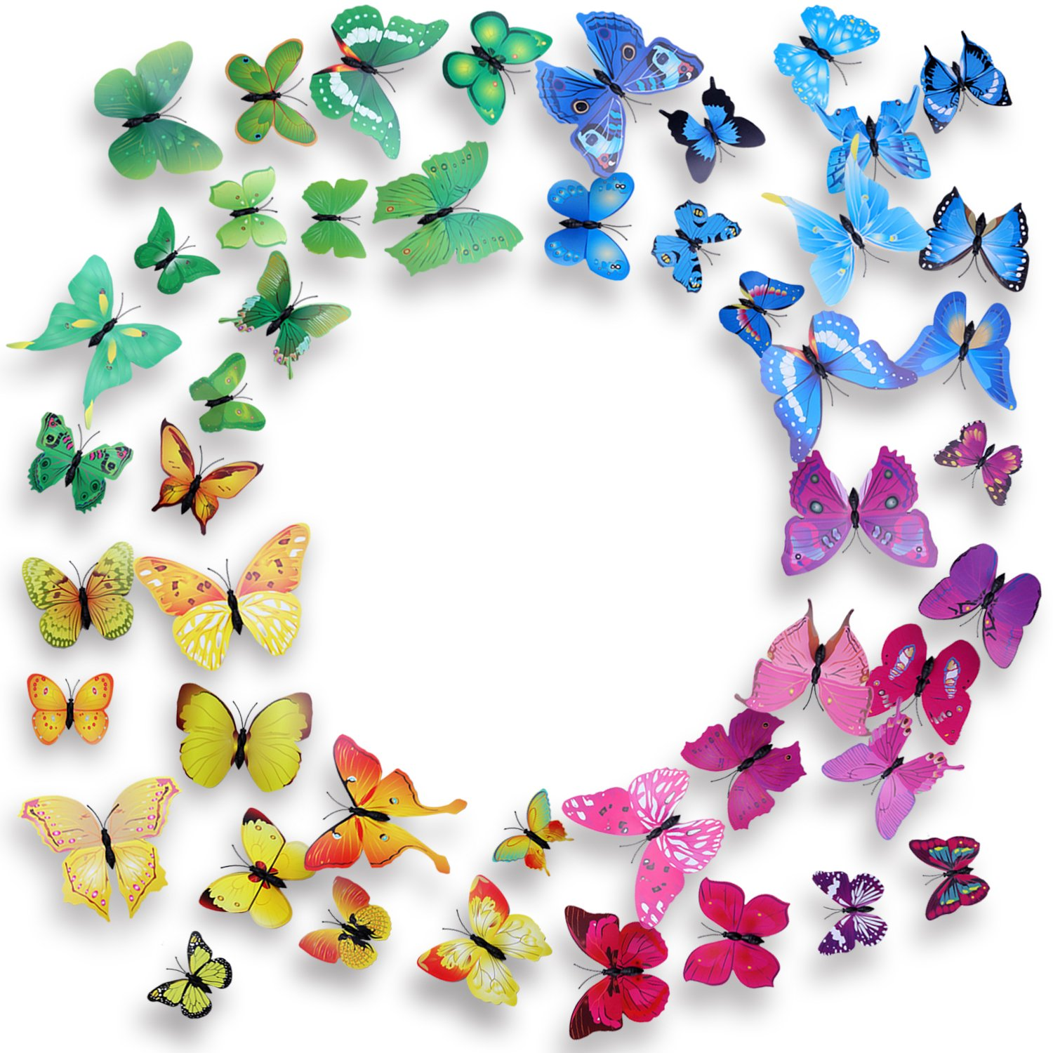 48 PCS 3D Butterfly Wall Stickers Butterfly Magnets with Dot Glue for Home & Room Decoration (Blue & Purple & Green & Yellow)