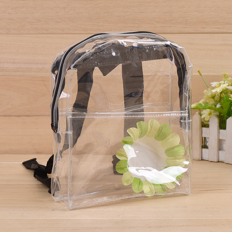 Alibaba Strong Waterproof Clear School Student Transparent PVC Backpack