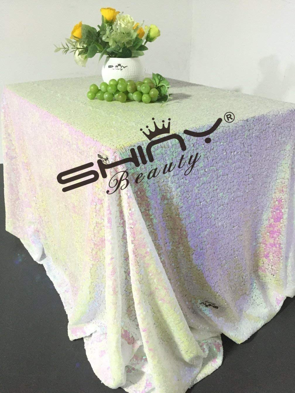 ShinyBeauty Sequin-Rectangle-Tablecloth-90x132-Inch-Iridescent White 6FT Table Cloth