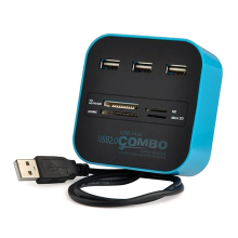 Smart USB 2.0 Combo HUB 3 Port card reader for TF SD SIM USB Combo