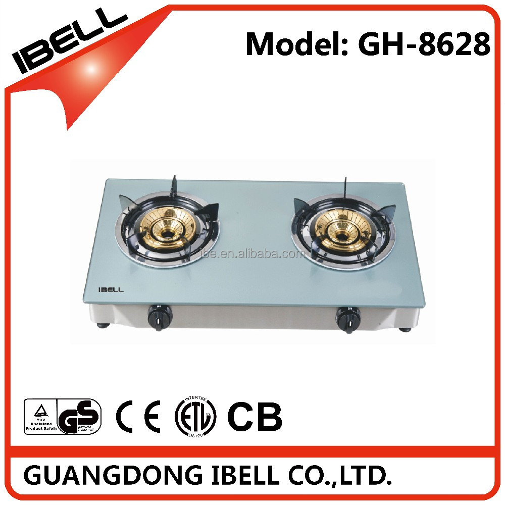 Double burners tabel gas cooking range with glass panel