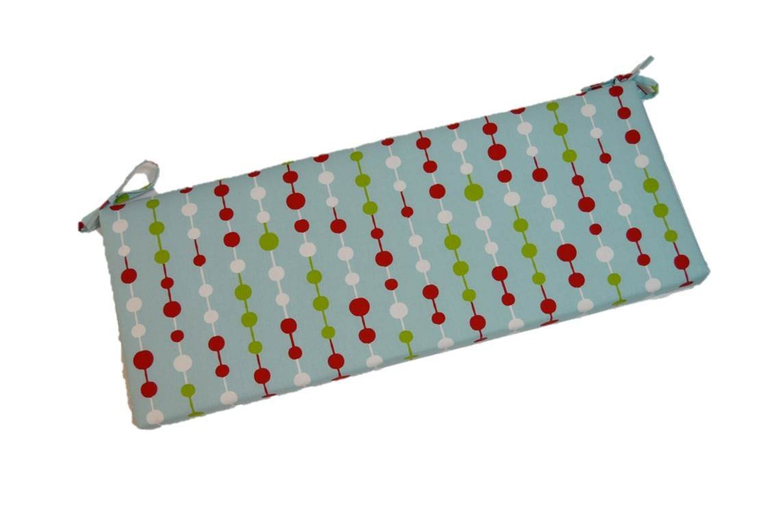 """Light Blue, Red, Green, White Holiday Beads Christmas 2"""" Thick Foam Swing / Bench / Glider Cushion with Ties and Zipper - Choose Size (51"""" x 18"""")"""