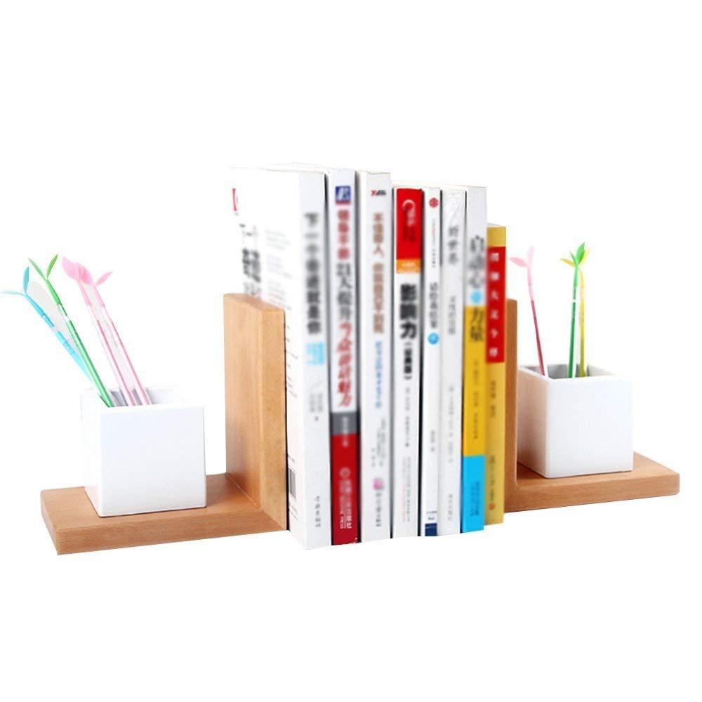 Bookshelf CHUNLAN Solid Wood Simple Student Desk Economic Type Children's Modern Minimalist Bookcase Divider Shelf Pen Shelf (Color : Pen bookends, Size : 301015cm)