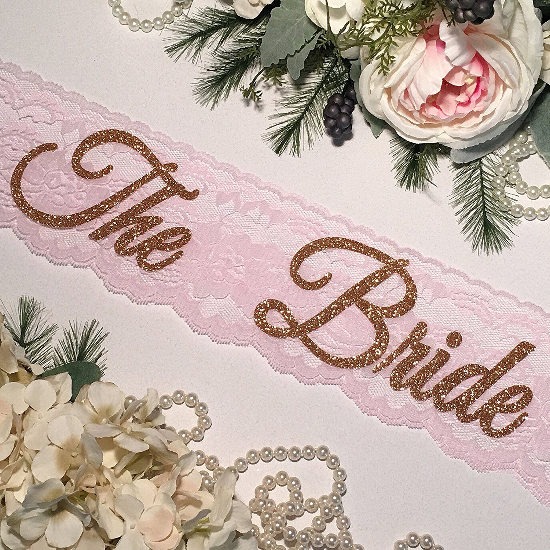 Bachelorette Sash - HANDMADE - Bride To Be Sash - Lace Bachelorette Sash - Blush Pink Lace